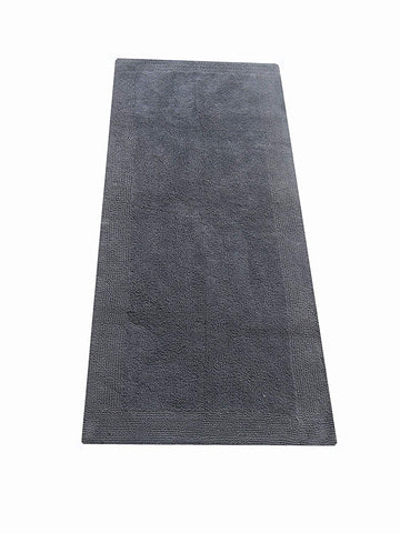 Chardin home 100% Pure Cotton - Splendor reversible Bath Rug, 24''x60'' highly absorbent & heavy duty bathroom mat, Platinum Gray