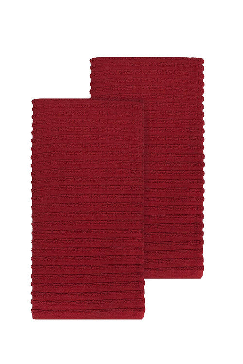 "Ritz Royale Collection 100% Combed Terry Cotton, Highly Absorbent, Oversized, Kitchen Towel Set, 28"" x 18"", 2-Pack, Solid Paprika Red"