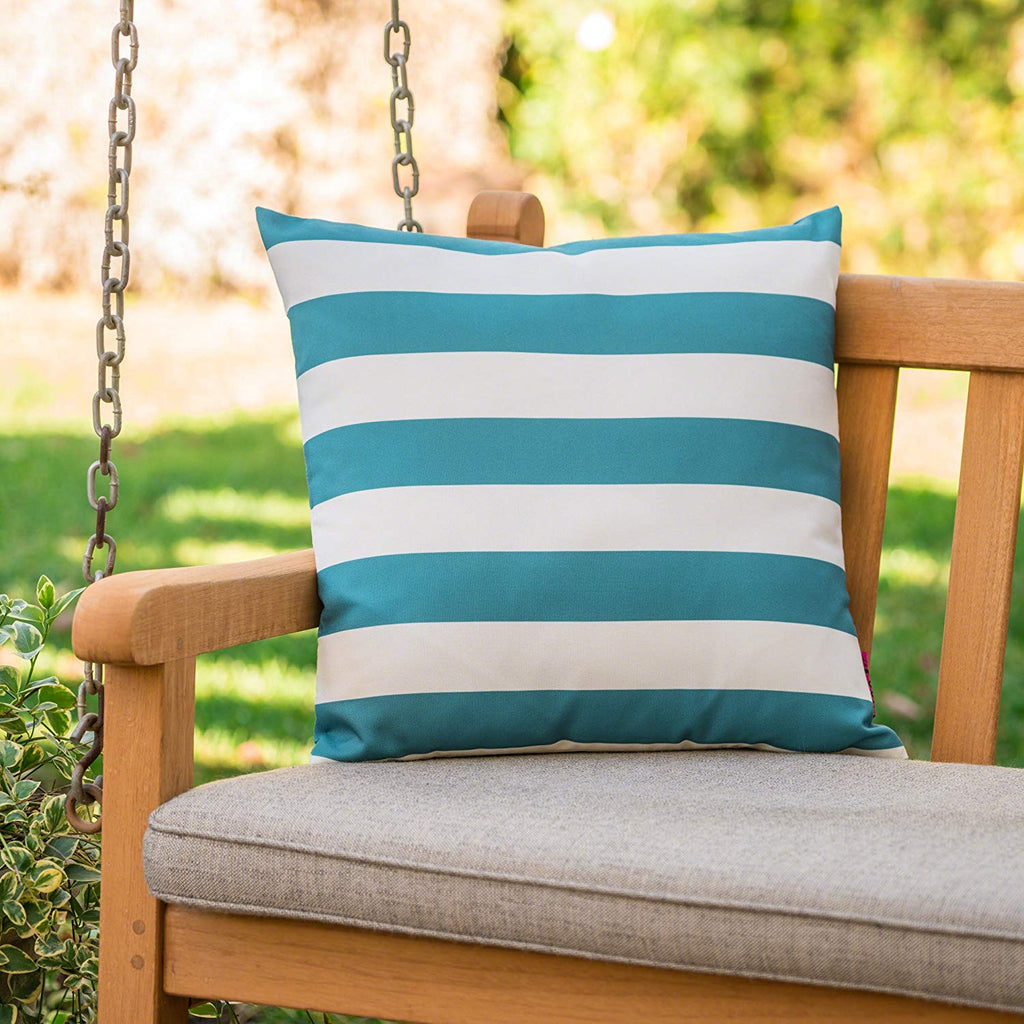 Christopher Knight Home Coronado Outdoor Dark Teal and White Stripe Water Resistant Square Throw Pillow