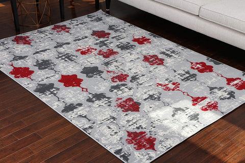 Generations Collection 100% Olefin Brand New Contemporary Grey Silver White Red Modern Anitique Trellis Area Olefin Rug Rugs 8057Silver 5'2 x 7'3
