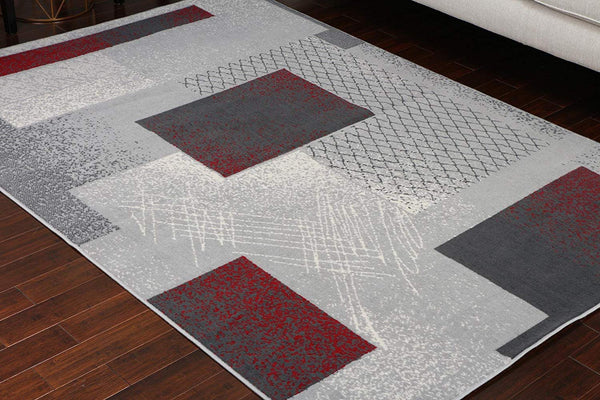Generations Collection 100% Olefin Brand New Contemporary Grey Silver Red White Modern Squares Area Olefin Rug Rugs 8003Silver 7'10 x 10'5