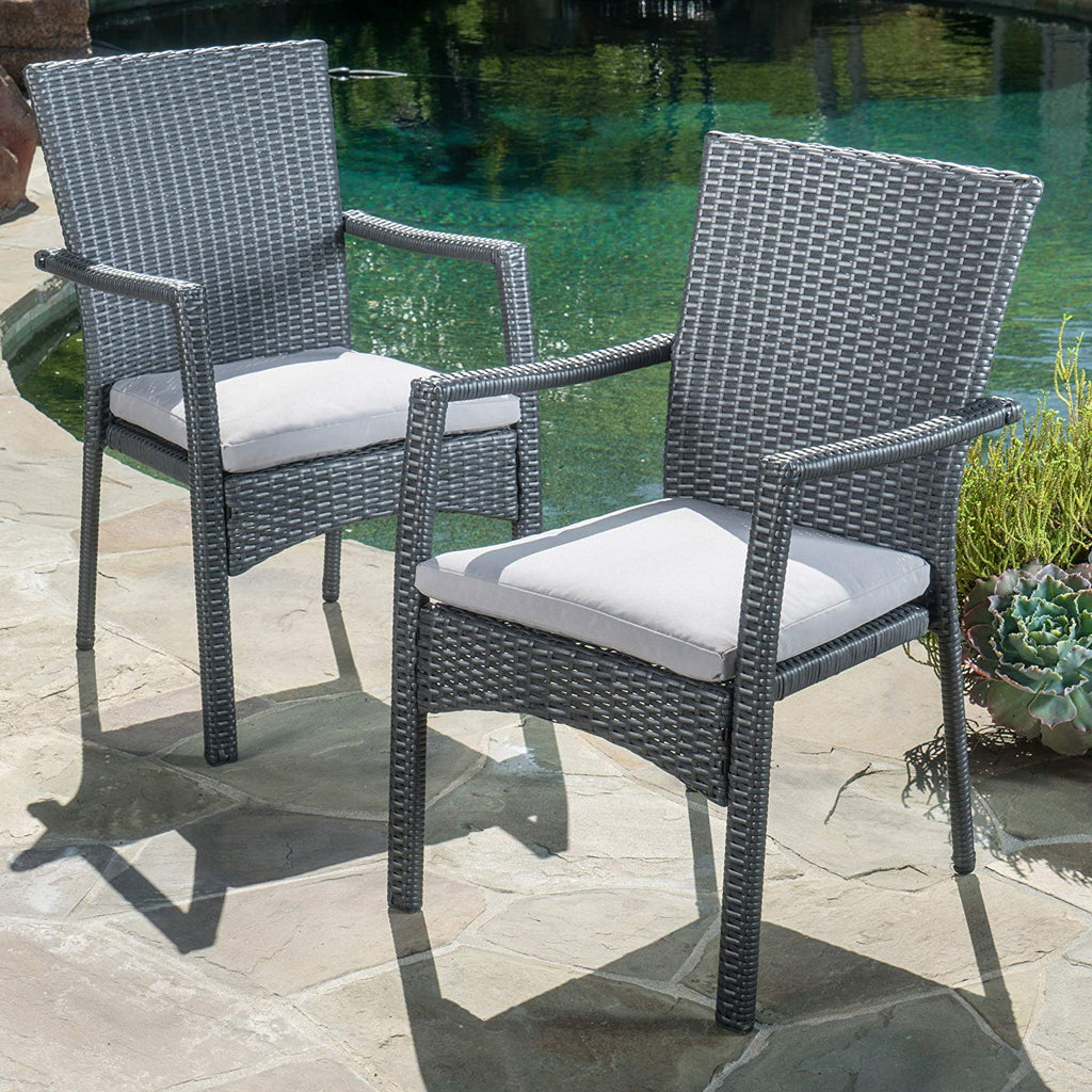 Christopher Knight Home Tigua Outdoor Grey Wicker Dining Chair with Cushions (Set of 2)