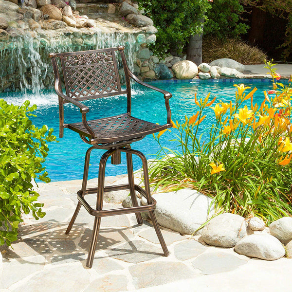 Christopher Knight Home Sierra Outdoor Cast Aluminum Swivel Bar Stool