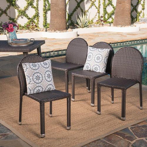 Christopher Knight Home Amallie Outdoor Multibrown Wicker Stacking Chairs with an Aluminum Frame (Set of 4)