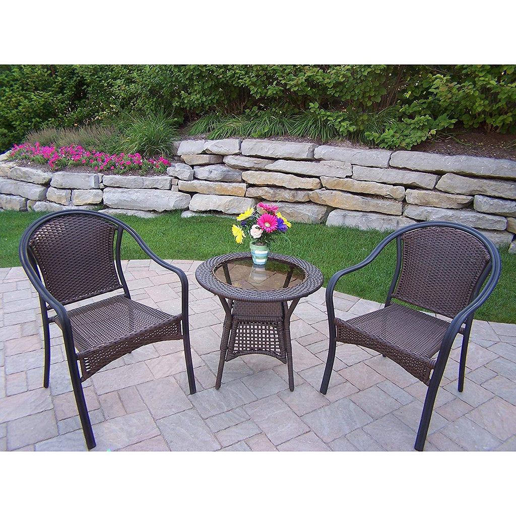 Oakland Living Corporation Sedona Wicker 3-Piece Bistro Set (2 Stackable Chairs and 1 Side Table)