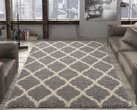 "Ottomanson Ultimate Shaggy Collection Moroccan Trellis Design Shag Rug Contemporary Bedroom Soft Shaggy Kids Rugs, Grey, 39"" L x 55"" W"