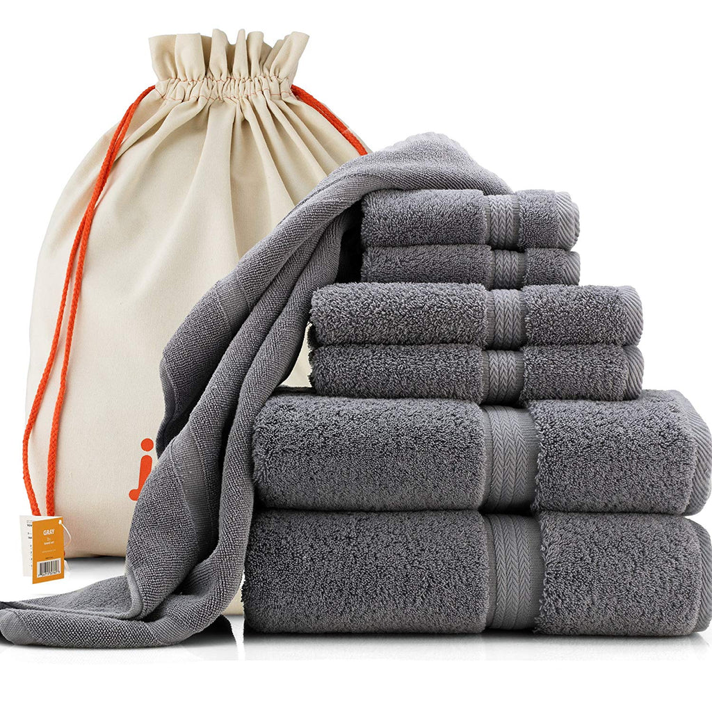 joluzzy Exlusive 7-Piece Towel Set, Steel-Blue/Gray - 100% Long-staple Cotton - High Density Absorbent 700 GSM - Soft & Plush - Hotel Quality - 2 Bath Towels, 2 Hand Towels, 2 Face Towels, 1 Floor Mat