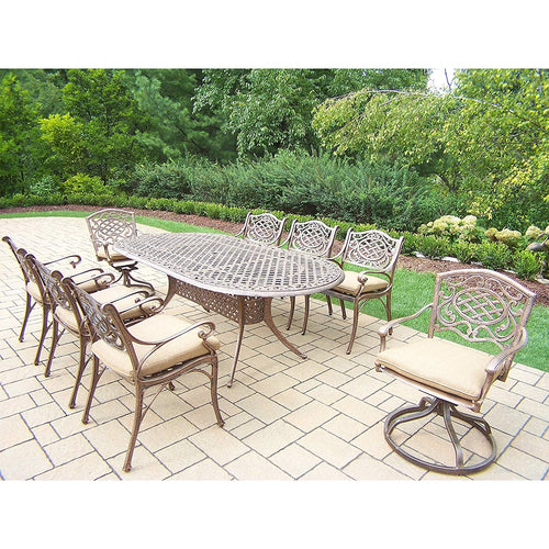 Oakland Living Corporation 9 Pc Dining Set with Table, 6 Chairs, 2 Swivel Rockers and Cushions
