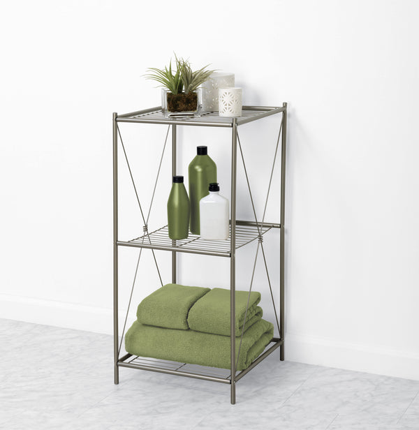 3-Tier Floor Shelf, Satin Nickel
