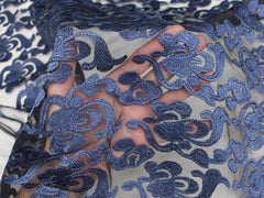 embroidered net navy polyester rayon brooklyn 2