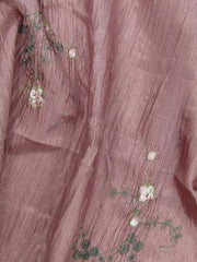 Embroidered Crush Taffeta Rose RUBY