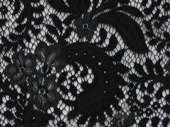 Floral Lace Viscose Nylon Sarah Panel Lace Black