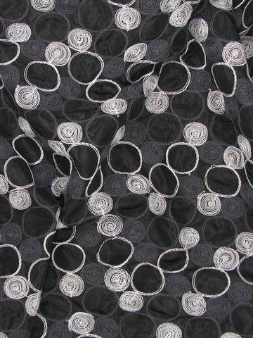 embroidered circles spots polyester nylon shabby black