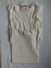 Silk and Cotton Singlet Ecru embroidered