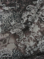"Animal Floral Silk Fabric: ""BENGAL"" 106cm SILK BLEND PRINT"