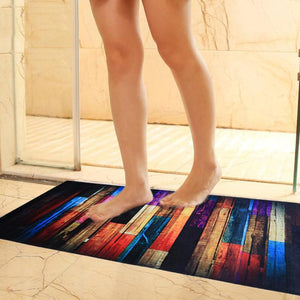 Wood Grain Print Non-slip Bathroom Shower Carpet Rug Door Mat for Toilet Bathroom Kitchen Carpets Tub Bath Mat