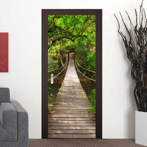 2Pcs DIY Wood Bridge 3D Door Stickers Waterproof PVC Sticker on the Door Bedroom Decoration Door Stickers Wallpaper