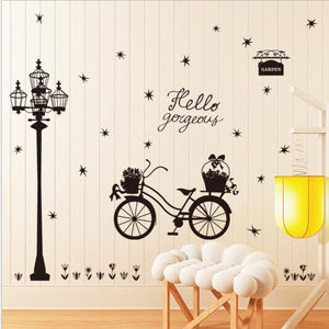 Street Light Bicycle Silhouette Wall Sticker For Home Shop Decor