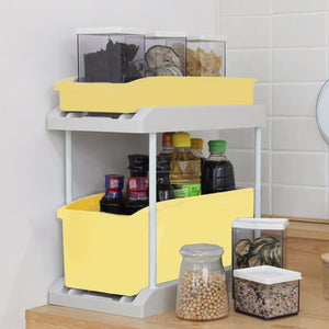 Stacking Drawer Storage Organizer Holder Box Rack Double Shelf Kitchen Bathroom