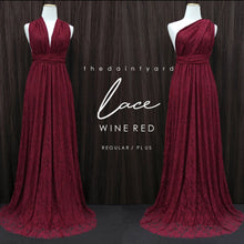 Load image into Gallery viewer, TDY Wine Red Maxi Infinity Lace Dress