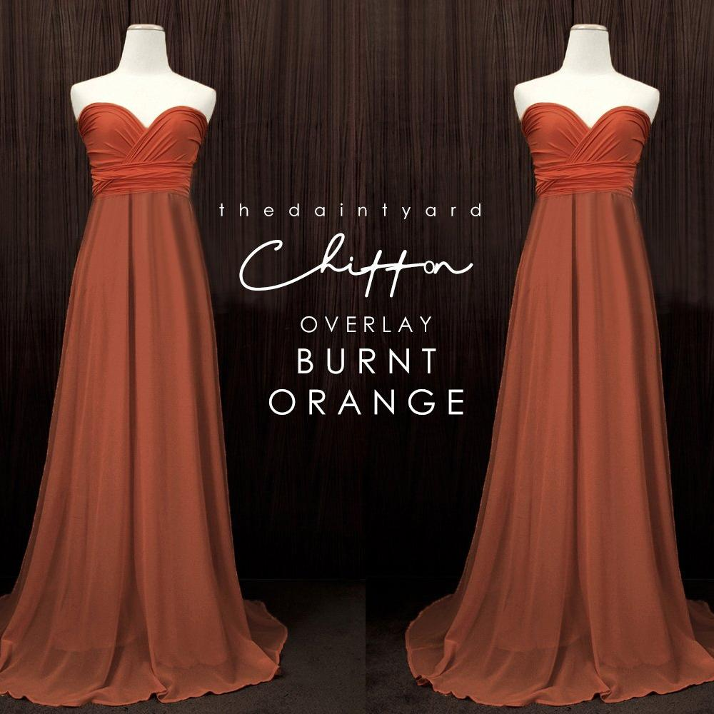 TDY Chiffon Overlay Skirt in Burnt Orange