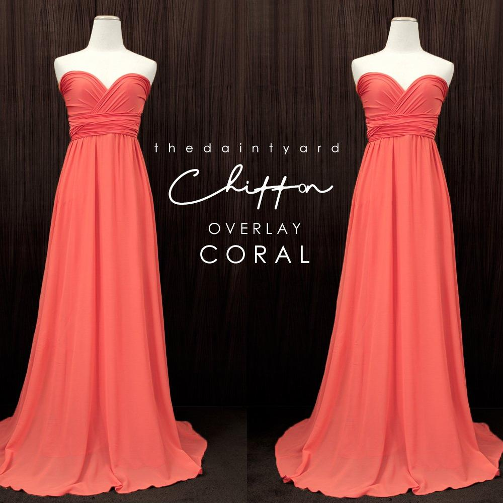TDY Chiffon Overlay Skirt in Coral
