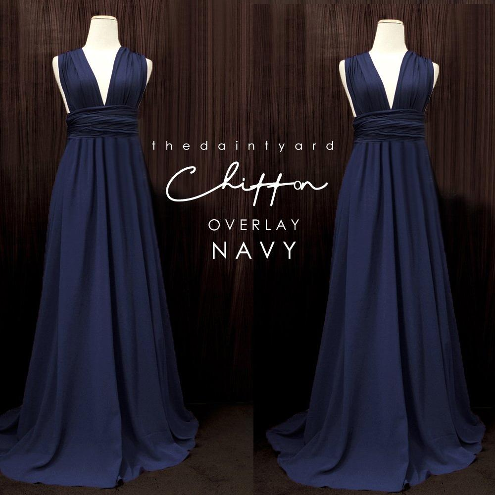 TDY Chiffon Overlay Skirt in Navy