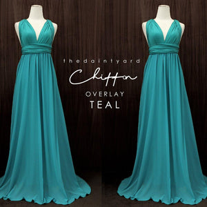 TDY Chiffon Overlay Skirt in Teal