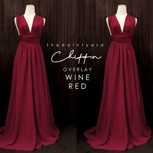 TDY Chiffon Overlay Skirt in Wine