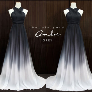 TDY Ombre Chiffon Overlay Skirt in Grey