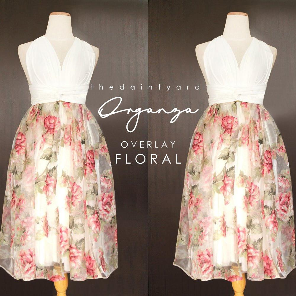 TDY Floral Organza Overlay Skirt
