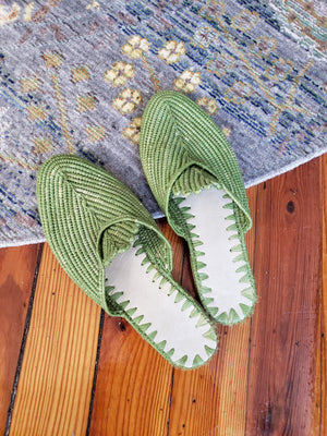 Green Apple Moroccan Raffia Slides