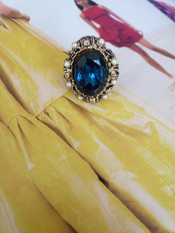 Sapphire Old Hollywood Ring