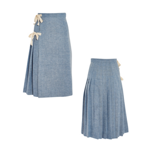 Herringbone Kilt in Blue Japanese Cotton Weave
