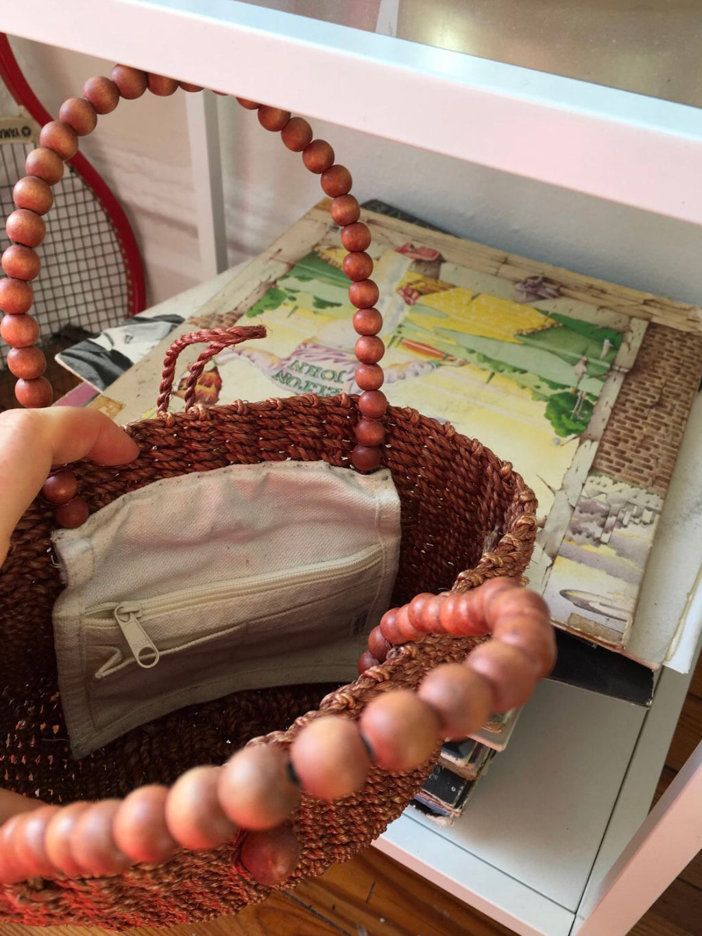 straw woman beaded ladybag