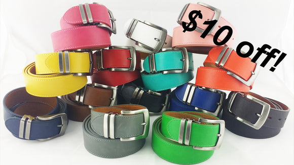 Colored belts for golf and everyday wear.
