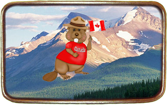Canadian Flag Beaver Buckle