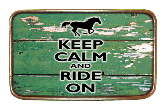 Keep Calm and Ride On Buckle