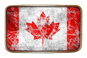 Canadian Flag Ice Hockey Buckle