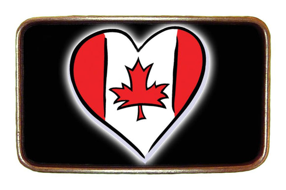 Canadian Flag Love Heart Buckle