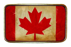 Canadian Flag Distressed Buckle