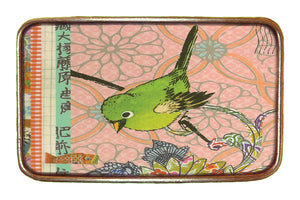 Green Bird on Pink Buckle