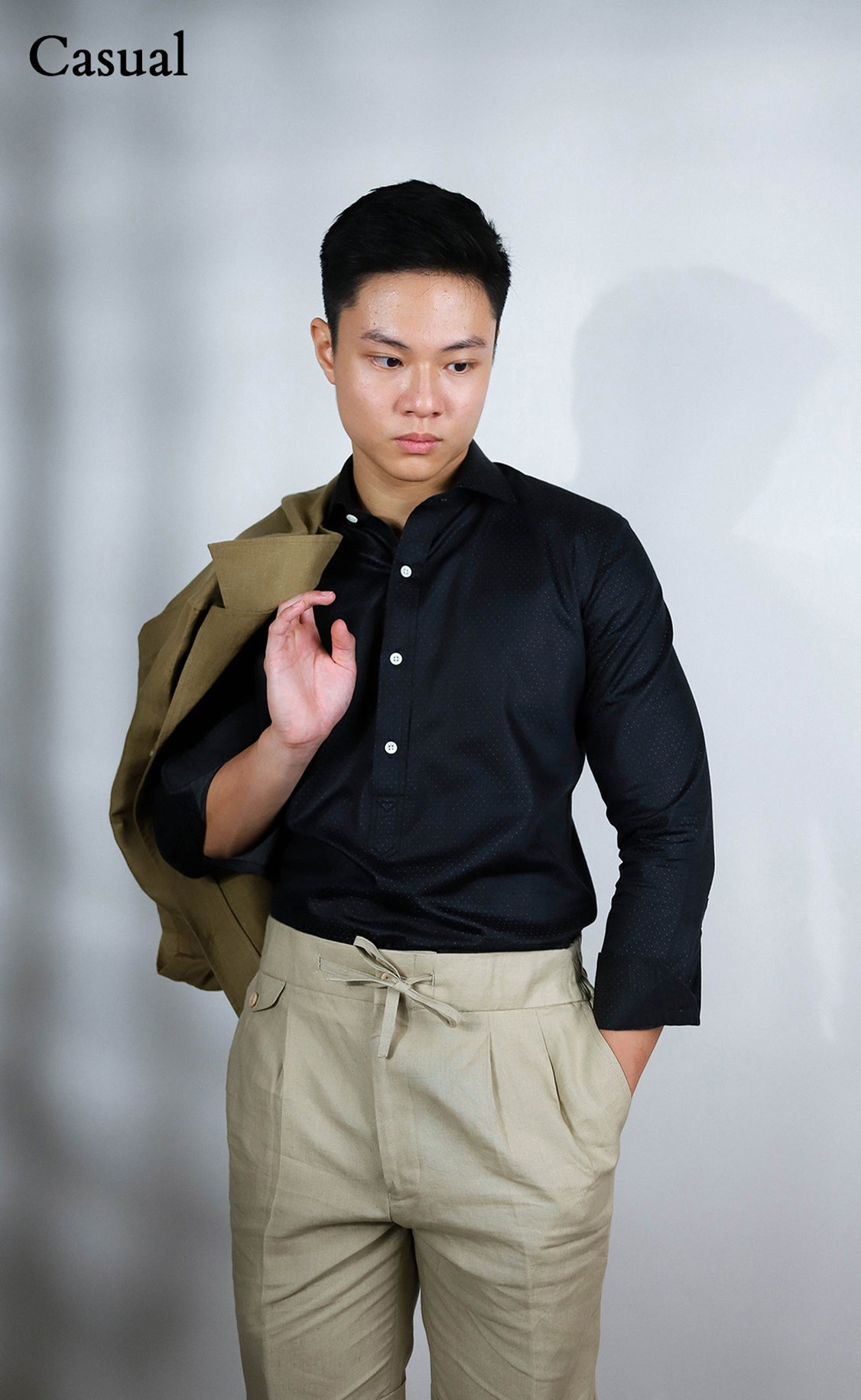 Tailored half placket charcoal shirt