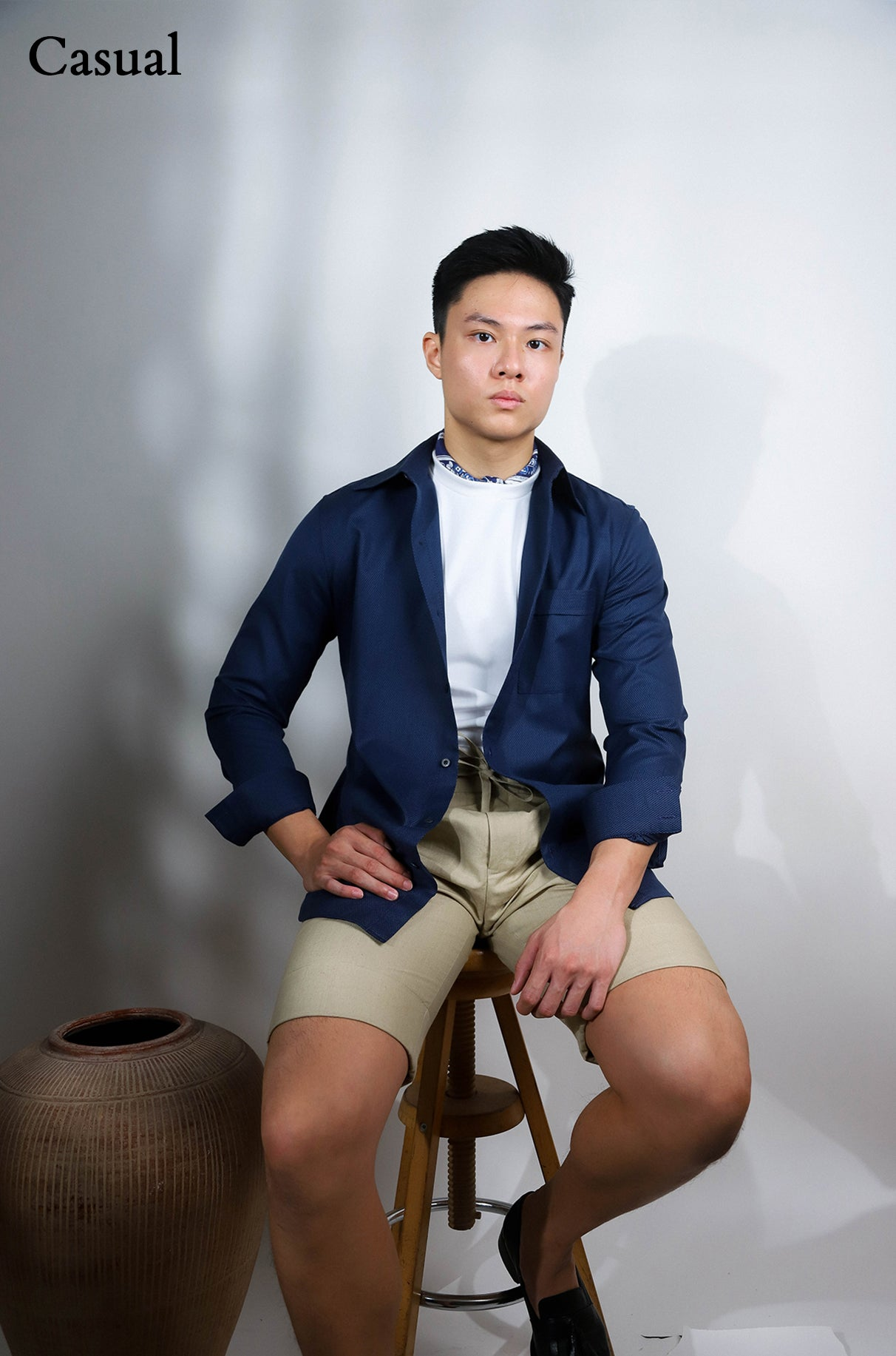Navy tailored shirt with back gathers