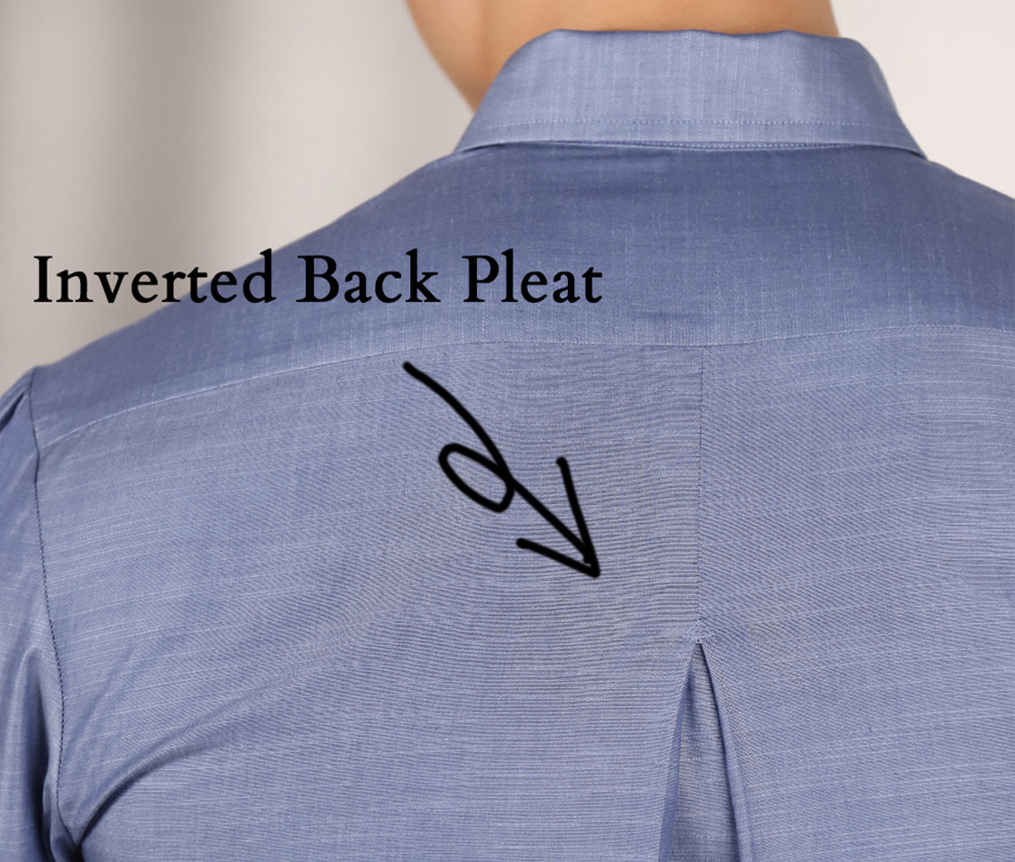 Blue Chambray Shirt Inverted Pleat Detail