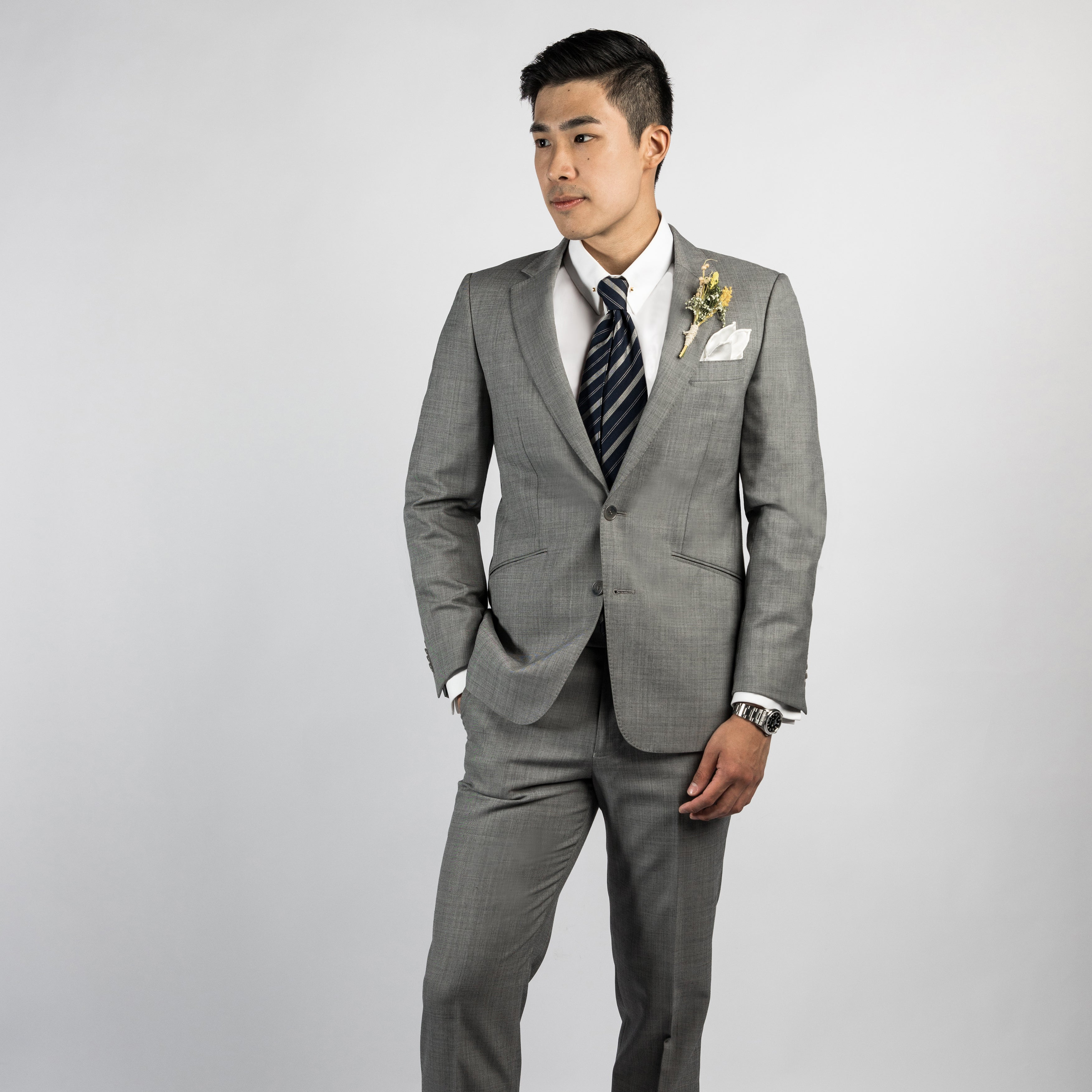 CYC made to measure tailor_Grey mix wool 2 pc wedding suit