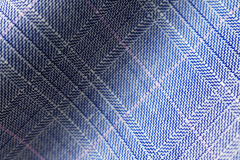 Scabal Londoner Super 140s Wool Suiting Fabric Blue Checks