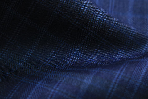 Scabal Galaxy Super 110s Wool Suiting Fabric Blue Checks