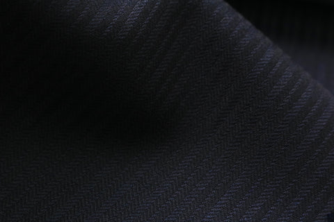 Scabal Galaxy Super 110s Wool Suiting Fabric Blue Charcoal Stripes