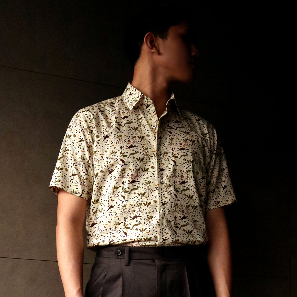 Singapore Stories Multi Mangrove Forest Printed Short Sleeve Shirt
